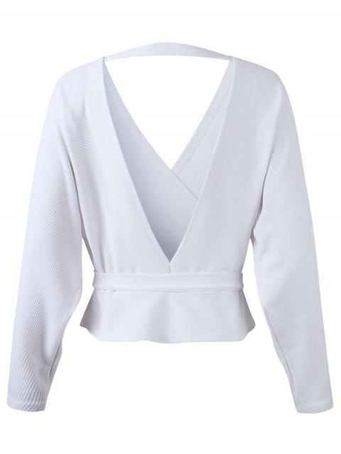 fashion Dolman Sleeves Belted Surplice Solid Blouse - WHITE S Mobile