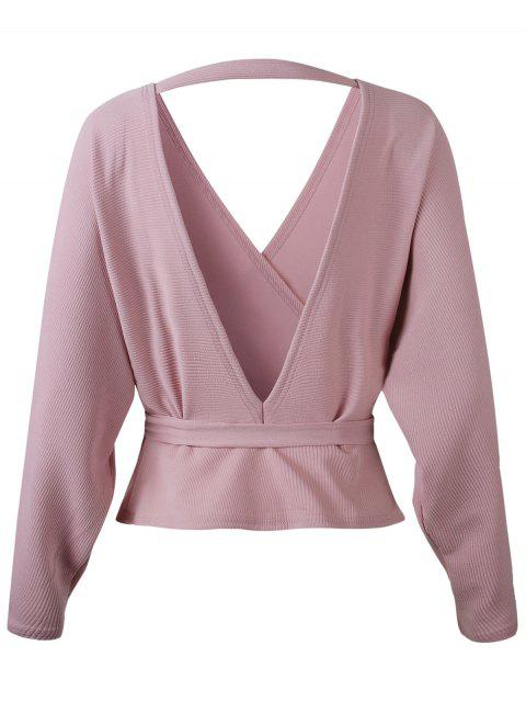 women Dolman Sleeves Belted Surplice Solid Blouse - PINK M Mobile