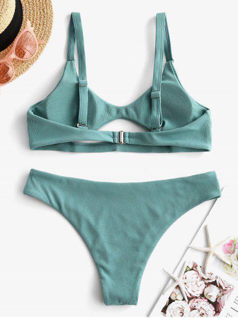 ZAFUL Maillot de Bain Bikini Côtelé Découpé à Taille Basse - Turquoise Grisâtre S Mobile