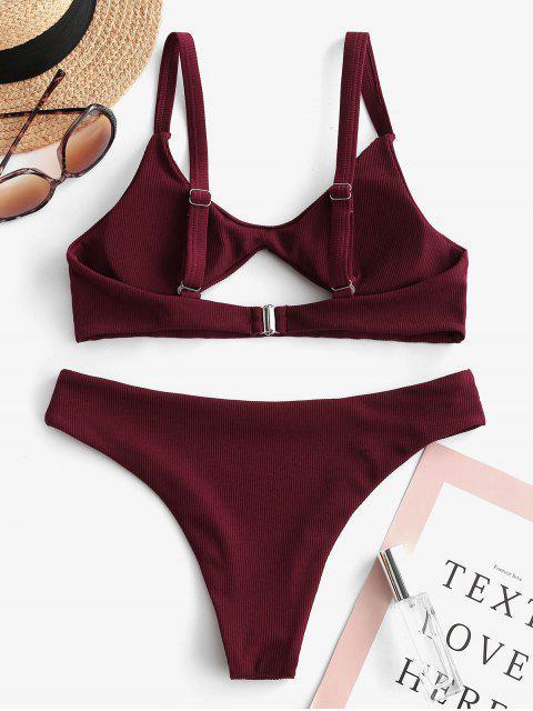 ZAFUL Maillot de Bain Bikini Côtelé Découpé à Taille Basse - Rouge Vineux M Mobile
