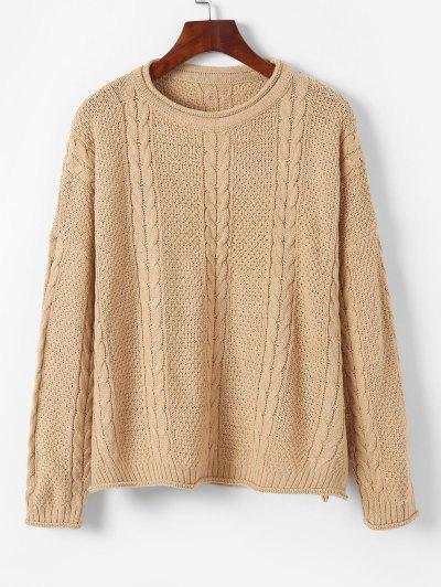 Pullover Drop Shoulder Cable Knit Sweater - Light Khaki