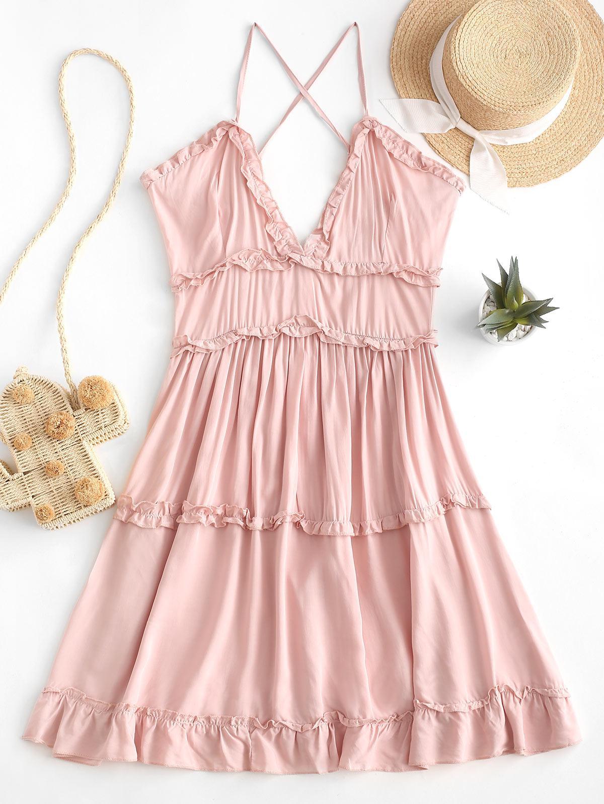 Criss Cross Mini Dress Ruffle