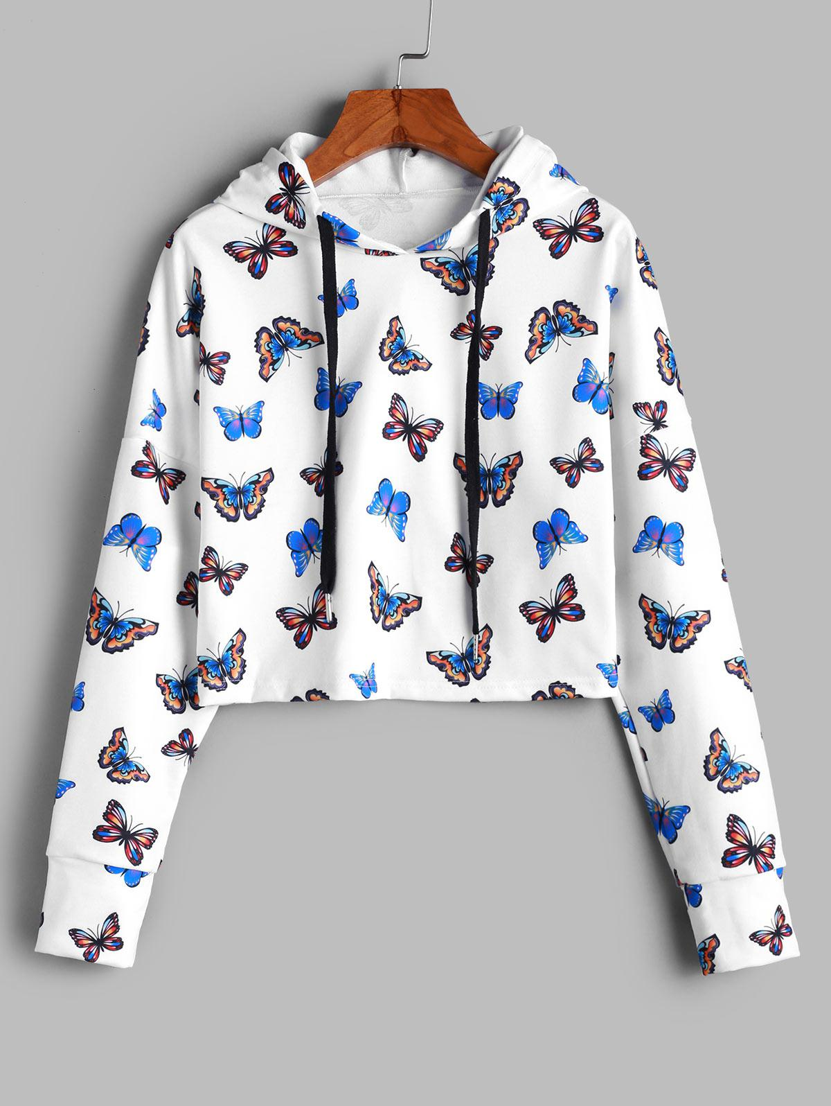 ZAFUL Cropped Gorgeous Butterfly Print Hoodie thumbnail