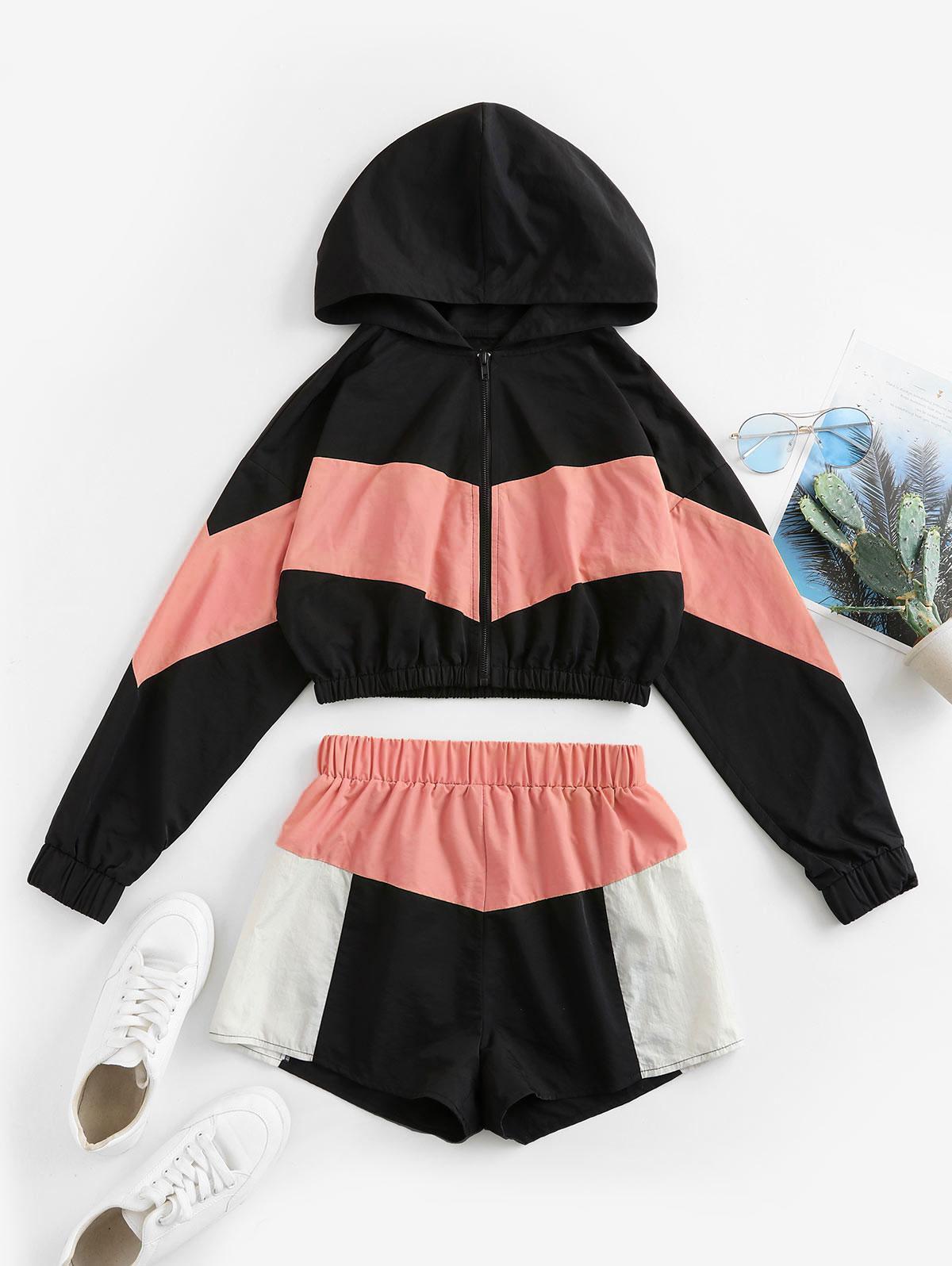 ZAFUL Colorblock Hooded Drop Shoulder Shorts Set, Multi-b