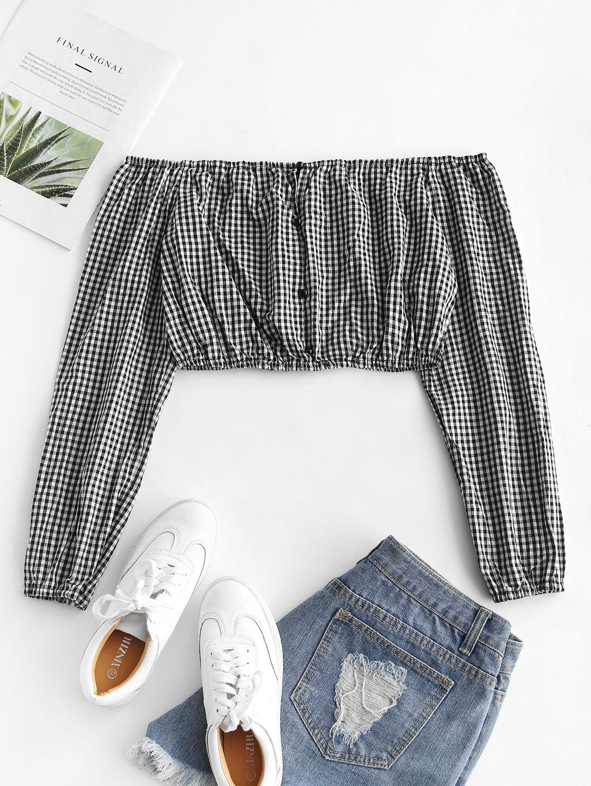 Gingham Off The Shoulder Crop Top thumbnail