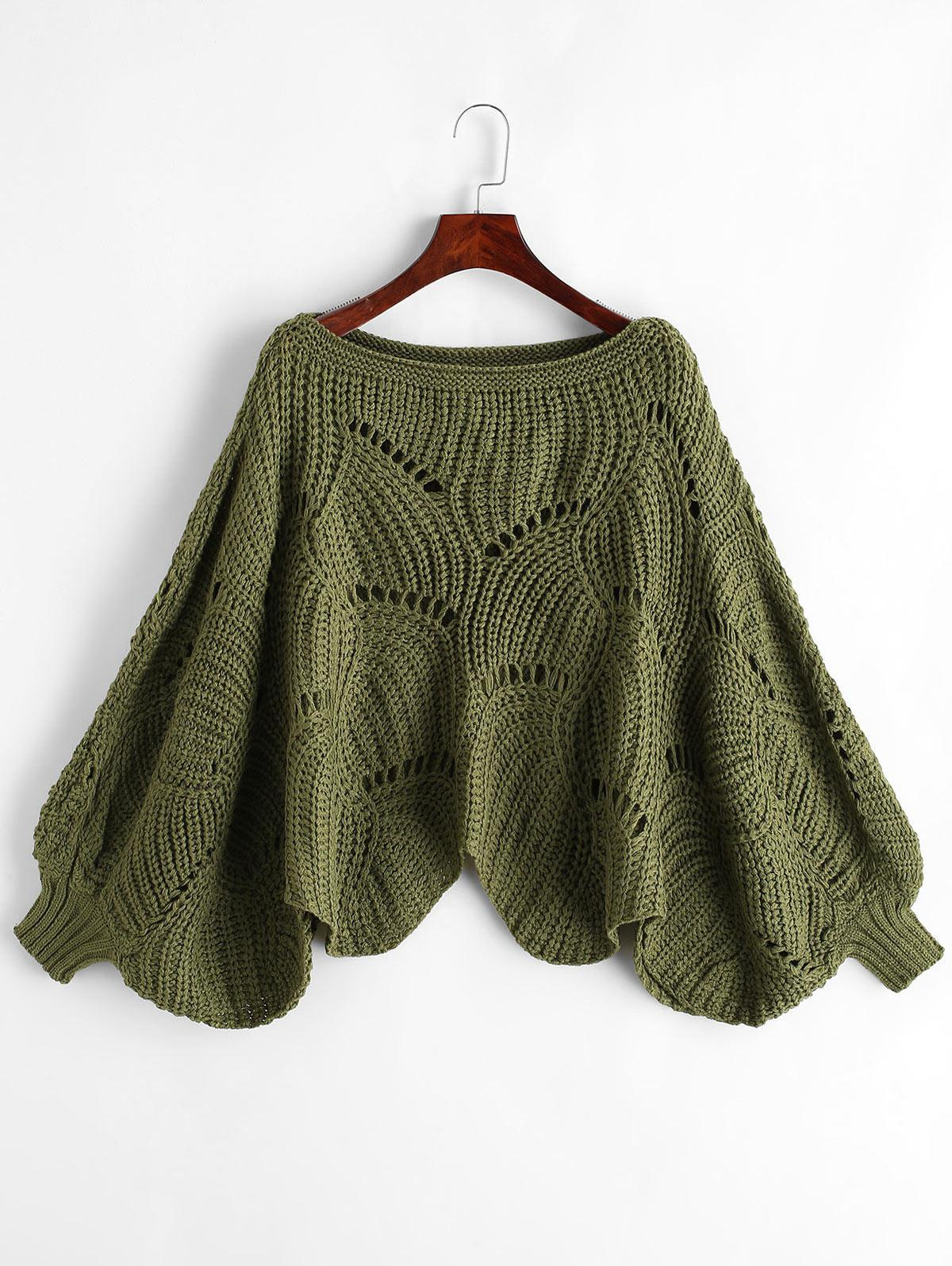 Scalloped Hem Pointelle Knit Lantern Sleeve Pullover Sweater