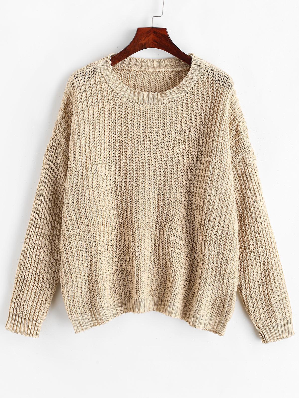 Chunky Knit Drop Shoulder Boyfriend Sweater