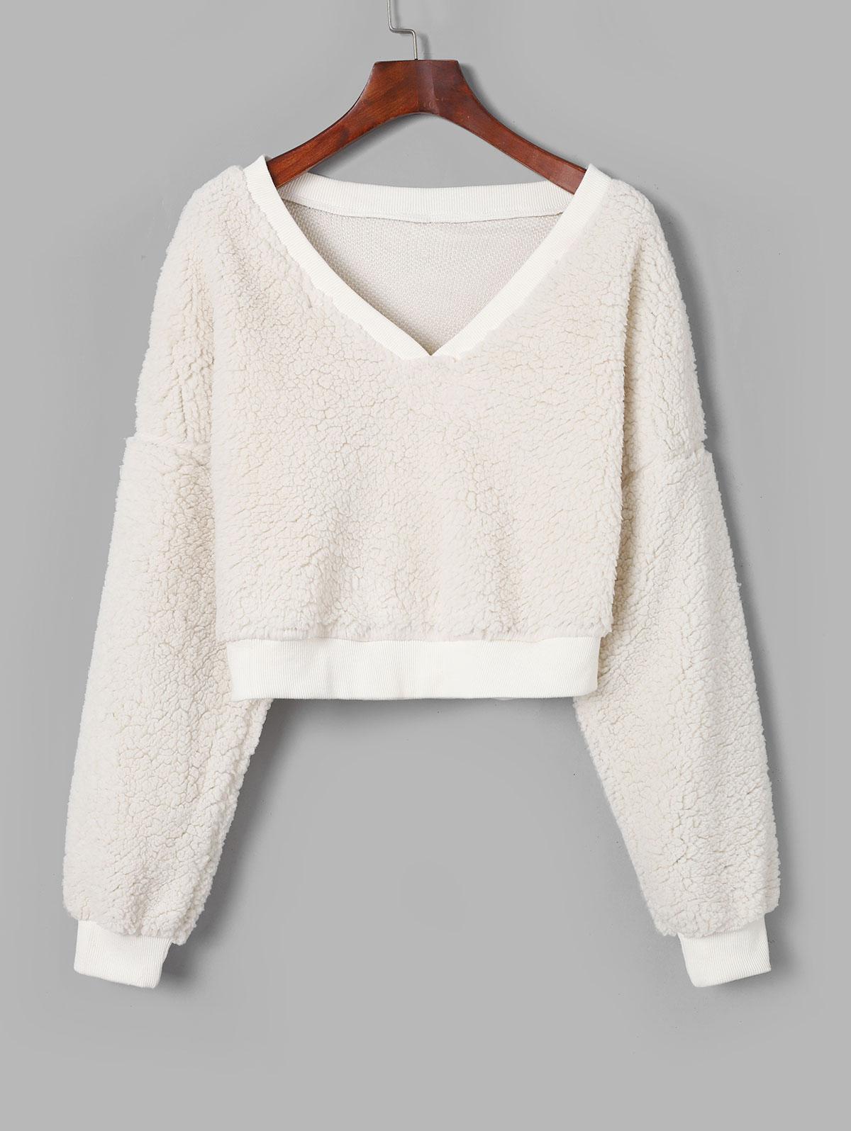 ZAFUL V Neck Faux Fur Crop Sweatshirt thumbnail