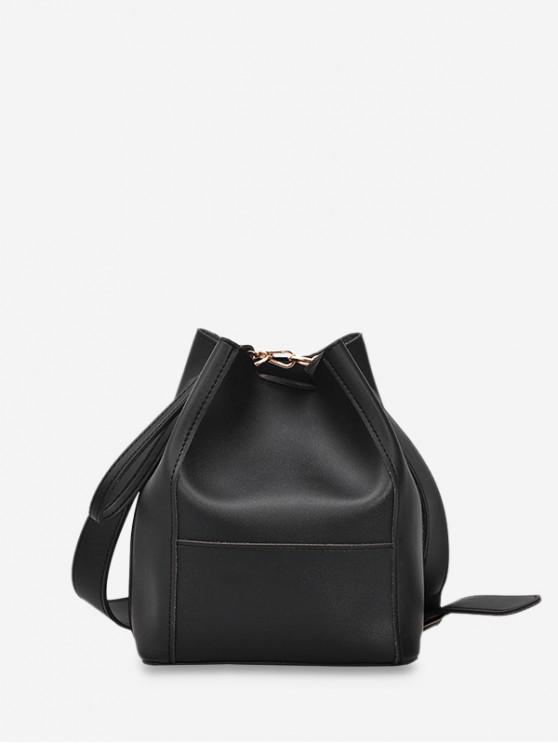 shop Plain Faux Leather Bucket Bag - BLACK