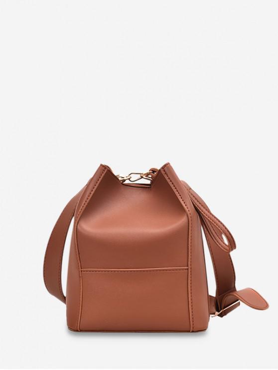 Plain Faux Leather Bucket Bag Black Brown Gray Khaki