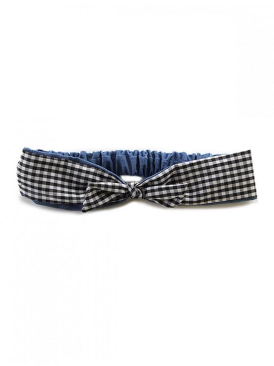 best Plaid Pattern Bowknot Decoration Hairband - BLACK
