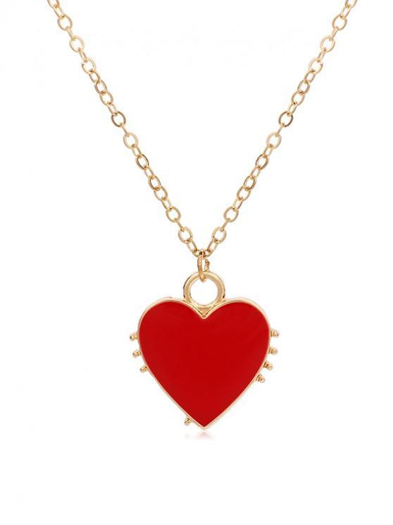 unique Link Chain Heart Pendant Necklace - RED