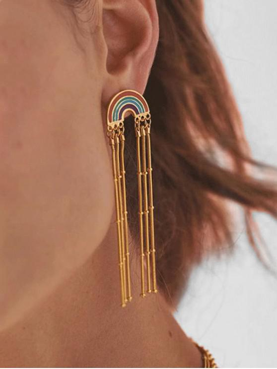 sale Bohemian Rainbow Tassel Dangle Earrings - GOLD