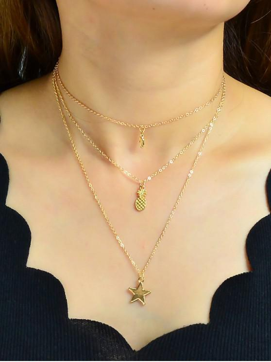 outfits Star Pineapple Shape Multilayered Necklace - GOLD