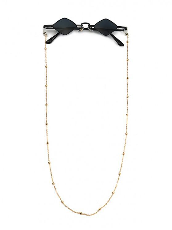 fashion Beads Rope Chain Vintage Rhombus Sunglasses - BLACK