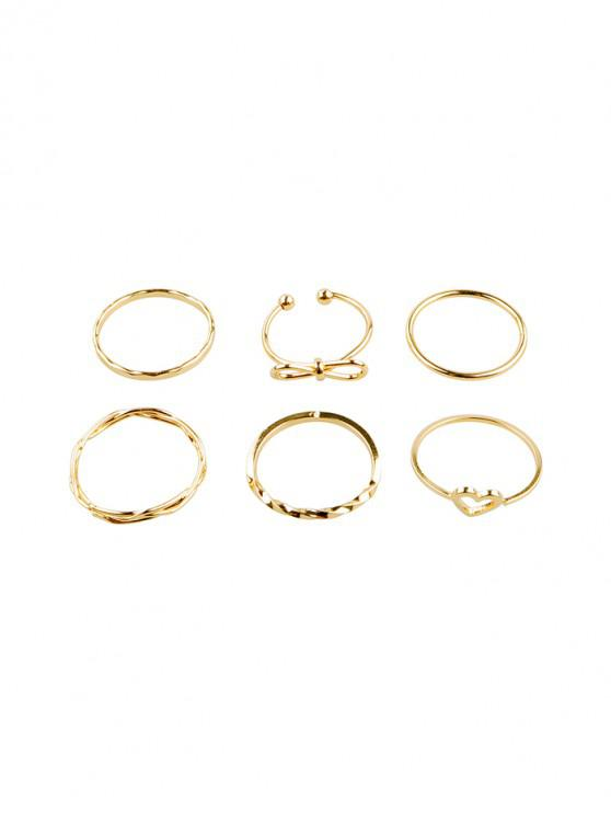 ladies 6Pcs Heart Bowknot Hollow Joint Ring Set - GOLD