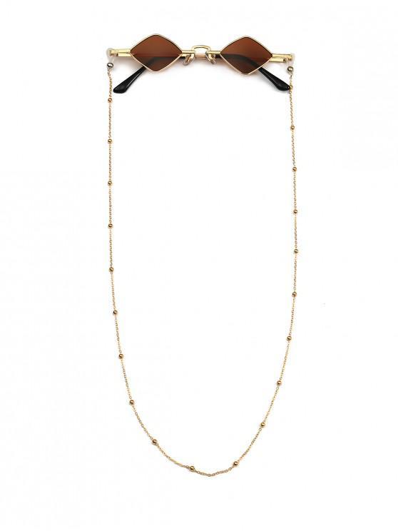 fashion Beads Rope Chain Vintage Rhombus Sunglasses - COFFEE