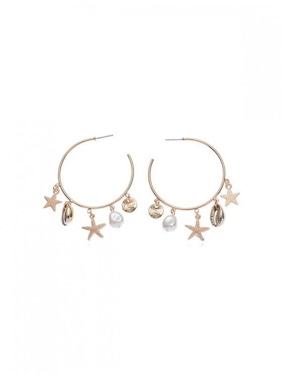Schale -Stern- Künstliche Perlen- Fransen- Ohrringe - Gold