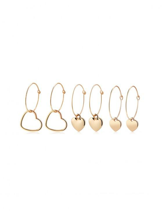 3Pairs Valentine Heart Shape Hoop Brincos Set - Ouro