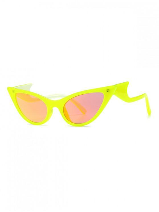 women's Vintage Wave Design Outdoor Sunglasses - YELLOW
