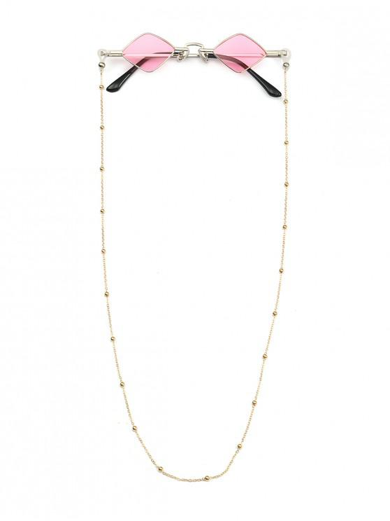 ladies Beads Rope Chain Vintage Rhombus Sunglasses - PINK