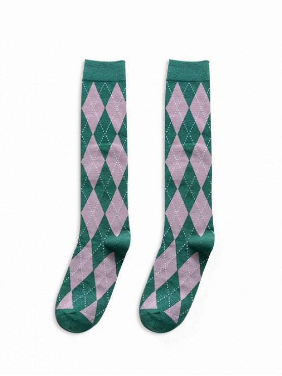 Calcetines hasta la pantorrilla estampados con rombos - Verde
