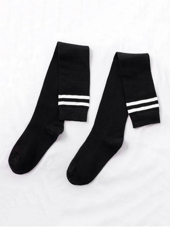 Chaussettes Longueur à Genou de Sport Rayées - Noir
