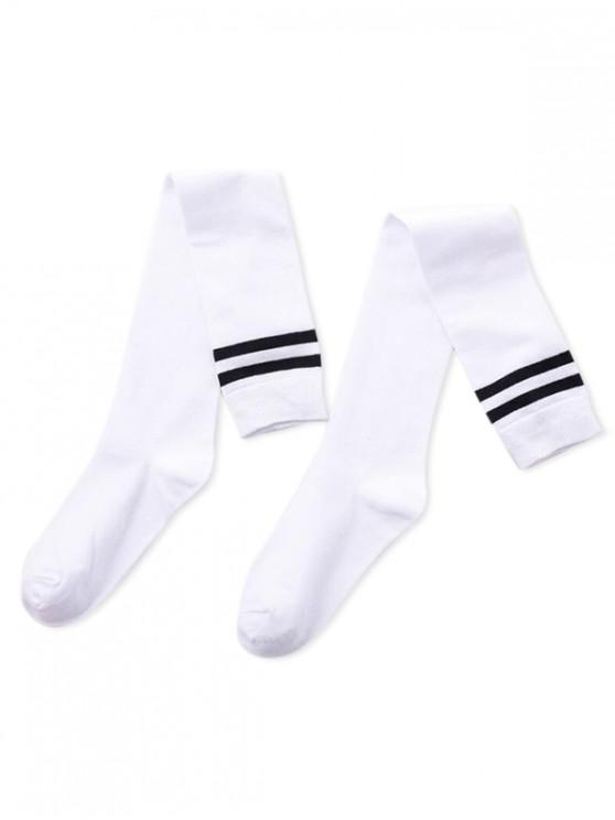 fashion Striped Sport Over Knee Length Socks - WHITE