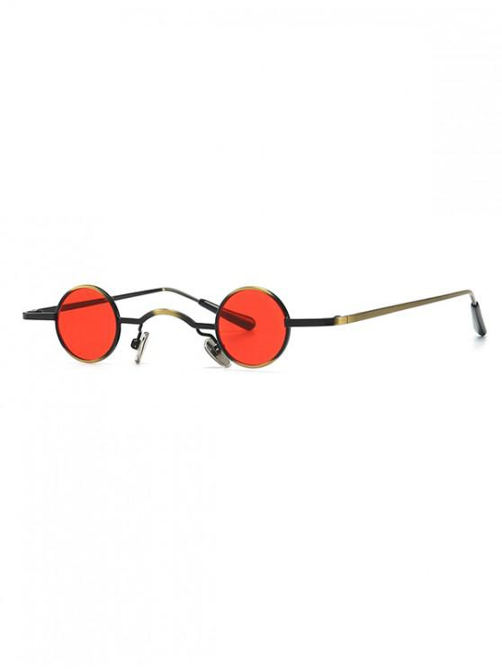 sale Vintage Metal Small Round Sunglasses - RED