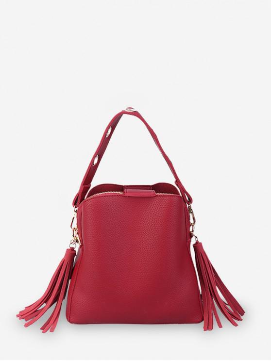 sale Solid Color Tassel Design Crossbody Bag - RED WINE