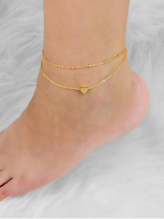 chic Double Layers Heart Beach Anklet - GOLD