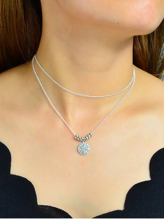 fancy 2Pcs Round Rhinestone Pendant Necklace Set - SILVER