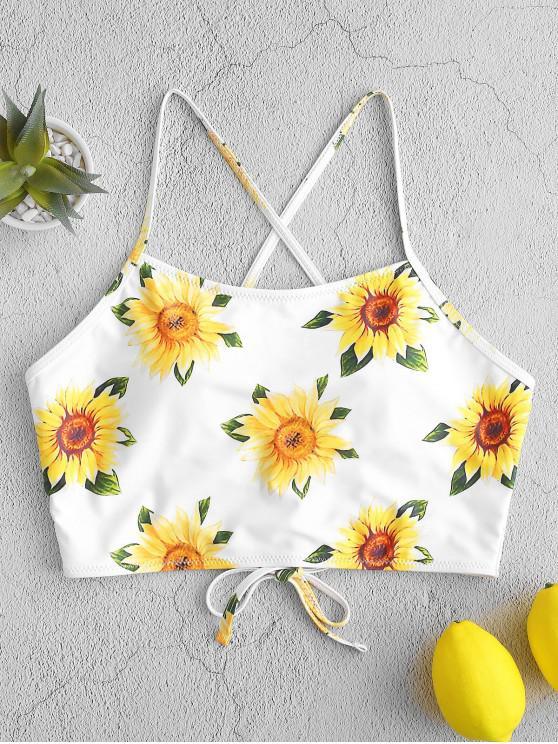 buy ZAFUL Sunflower Print Lace-up Cropped Bikini Top - WHITE XL