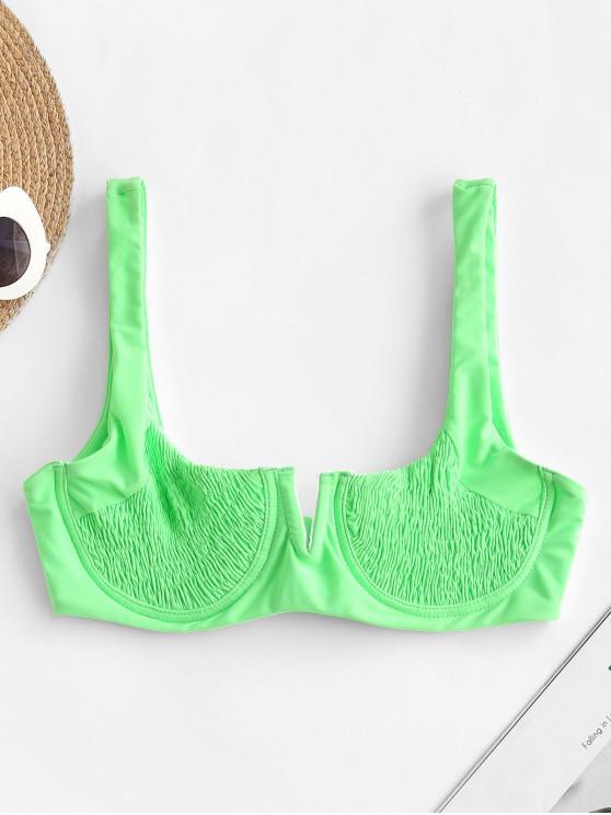 Top de bikini con aros y corte en V Smocked ZAFUL - Verde Menta M