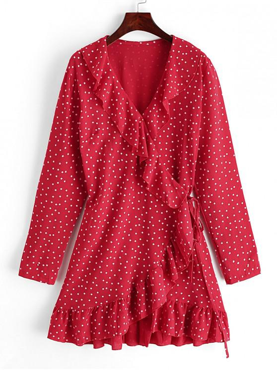 unique Dazzling Star Ruffles Wrap Mini Dress - RUBY RED S