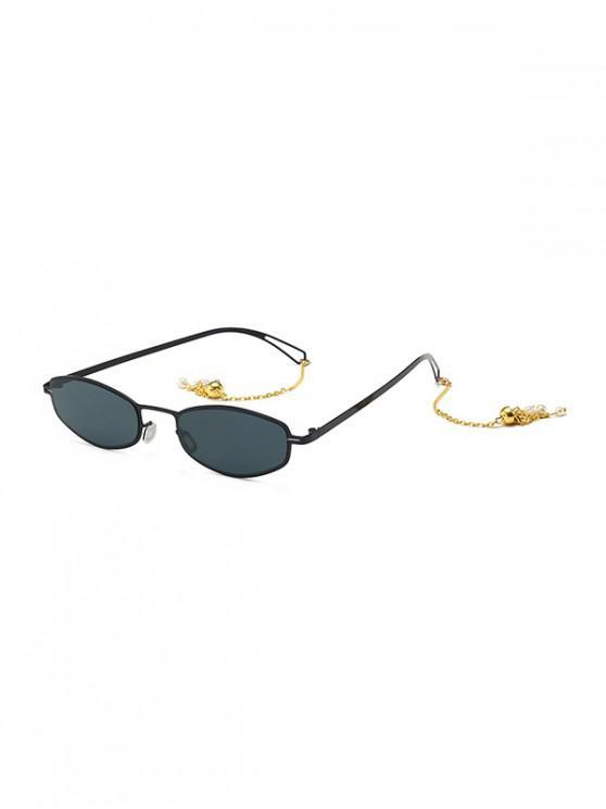unique Street Chain Vintage Sunglasses - BLACK