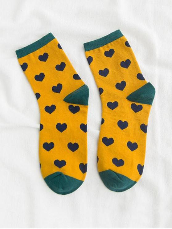 hot Heart Printed Crew Length Socks - YELLOW