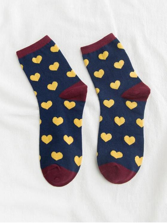 Calcetines largos estampados con corazón - Cadetblue