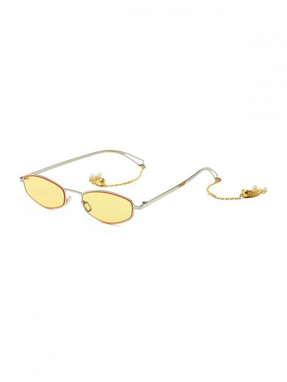 trendy Street Chain Vintage Sunglasses - YELLOW