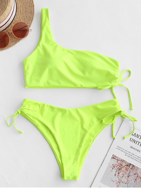 shops ZAFUL Neon One Shoulder High Cut Cinched Tie Bikini Swimsuit - CHARTREUSE L
