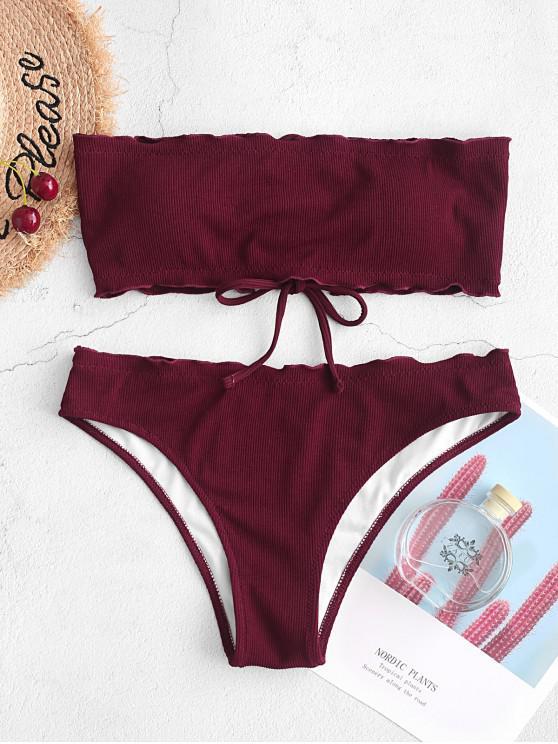 Bañador de bikini bandeau con ribete de lechuga con cordones ZAFUL - Vino Tinto M