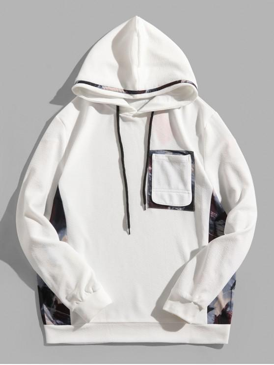 latest Painting Print Patchwork Splicing Chest Pocket Hoodie - WHITE XS