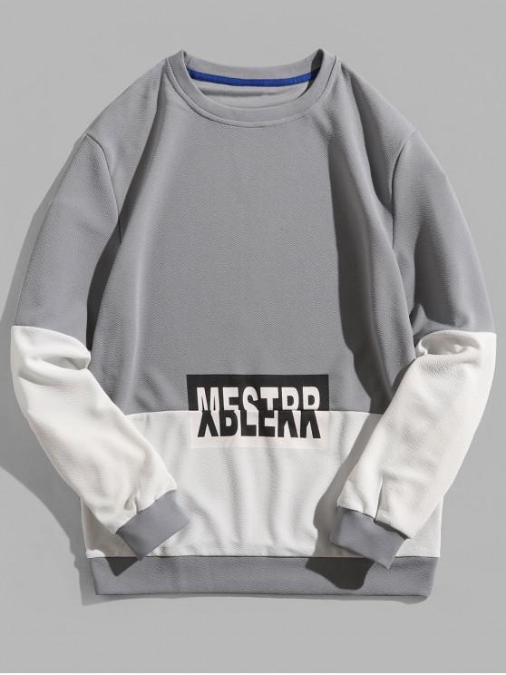 chic Letter Print Color Block Splicing Pullover Sweatshirt - BLUE GRAY XS