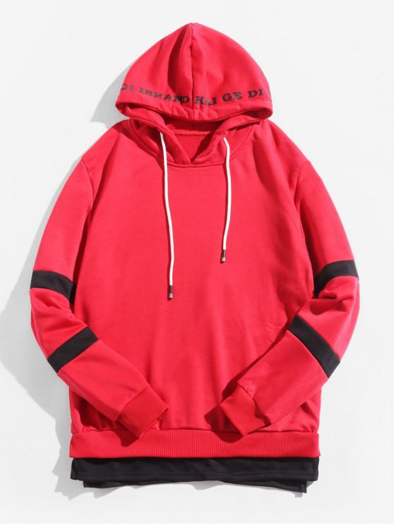 sale Color Block Spliced Side Slit Faux Twinset Letter Print Hoodie - RUBY RED M