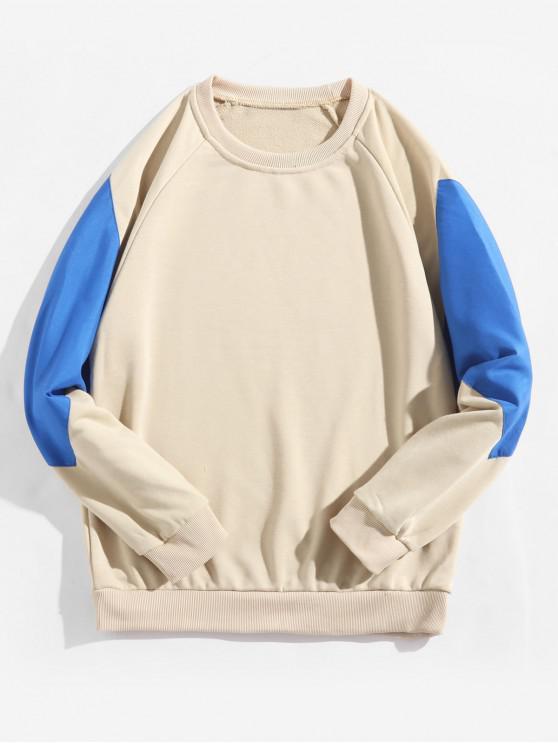 women Raglan Sleeve Color Block Splicing Round Neck Sweatshirt - VANILLA S