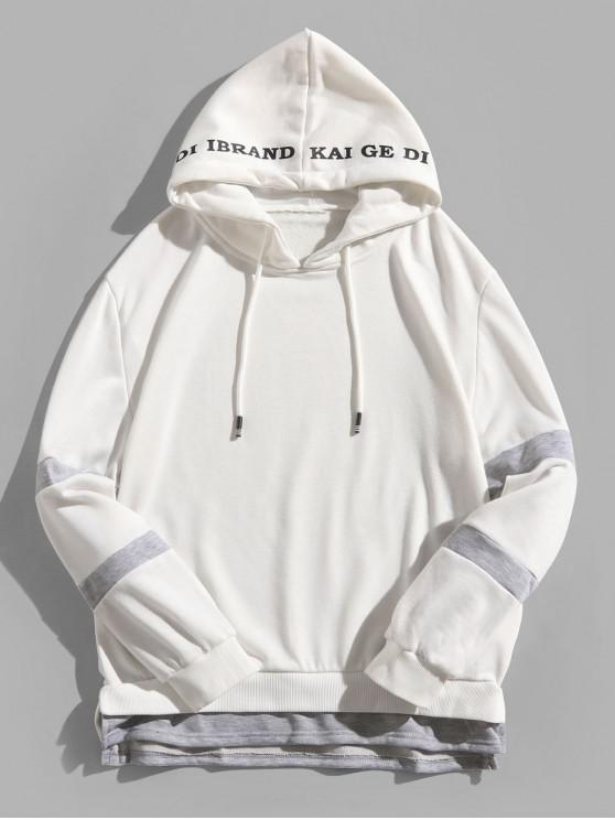 fashion Color Block Spliced Side Slit Faux Twinset Letter Print Hoodie - WHITE S