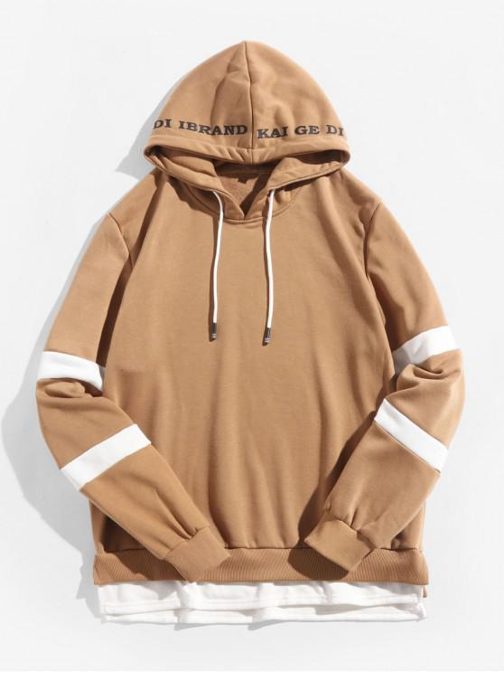 affordable Color Block Spliced Side Slit Faux Twinset Letter Print Hoodie - COFFEE S