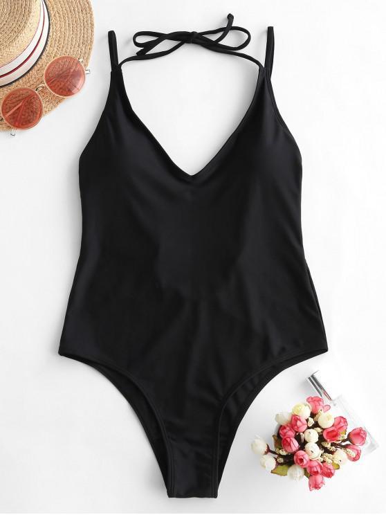 womens ZAFUL Halter High Cut Open Back One-piece Swimsuit - BLACK L