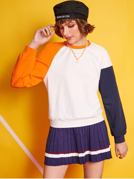 ZAFUL Raglanärmel Color Block Lässiges Sweatshirt - Weiß S