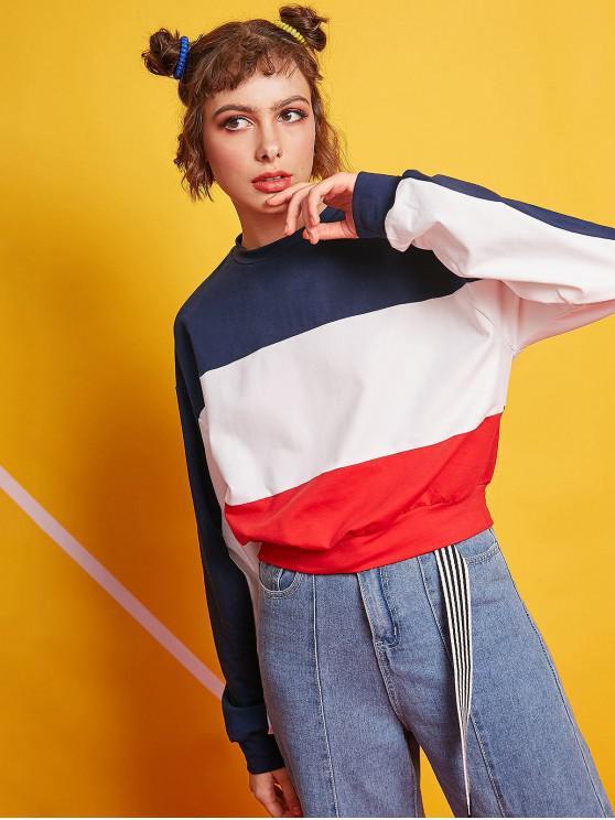 ZAFUL Color Block Loose Drop Schulter Sweatshirt - Multi-A S